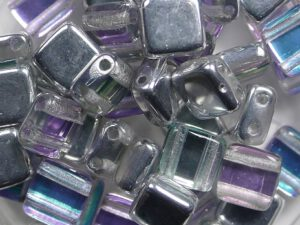 TH-00030-98530 2Hole Square Crystal Silver Rainbow 25 Pc-0