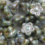 FLB-03000-65431 Chalk White Green/Blue Lazura Luster Flower Button 40 Pc.-0