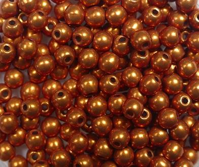 03-R-06B06 Colortrends Saturated Metallic Russet Orange Round 3 mm. 100 stuks-0