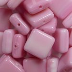 0070432 square bead 9×9 mm opaque pink melee