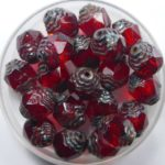 0050288 czech glass antique style cathedral 10×8 mm siam ruby picasso