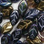LF127MIX23 czech glass leaf mix 12×7 mm heavy metals