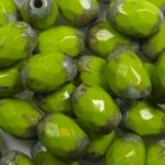 0100542 8×6 mm faceted olive opaque olivine picasso
