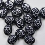 0010500 Oval clover 10×9 mm hematite white inlay color 14400WL