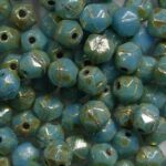 EC-04-63020-43400 english cut 4 mm opaque blue turquoise silver picasso