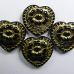 0010505 hearts with flower beads opaque black gold washed color 23980-54302