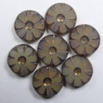 0040255 Topaz Opal Bronze Wash Table Cut Sunflower Bead 12 mm kleur 11000-14415