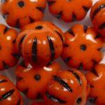 0060129 Opaque Orange Black striped pumpkin beads color 93120-46449