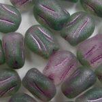 0100554 mini tulip bead 9×7 mm Matte Pink-Turmaline Green Fuchsia Striped kleur R0544-84100-54321