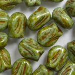 0100555 mini tulip bead 9×7 mm Alabaster cardamom Lustered kleur 02010-65326