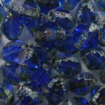0090434 czech glass special cut firepolished bicone 8×6 mm transparent sapphire picasso
