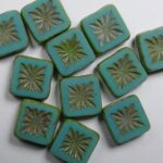 0100558 squared kiwi beads 10×10 mm opaque green turquoise picasso color 63130-86800